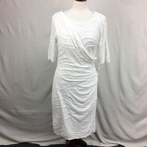 Connected Apparel White Faux Wrap Pintuck Dress